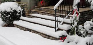 Steps with snow and ice on them