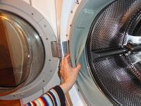 Looking behind the gasket in a front-loading washing machine