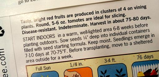 Instructions on seed packet on when to plant seeds indoors
