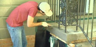 Applying cement matching materials to concrete steps