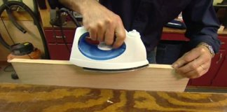 Using a clothes iron to attach edge banding veneer to a plywood edge