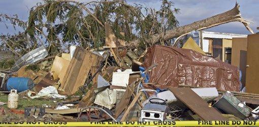 Hurricane damage to house