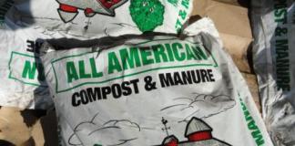 Bag of compost and manure fertilizer