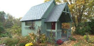 Completed custom designed storage shed.
