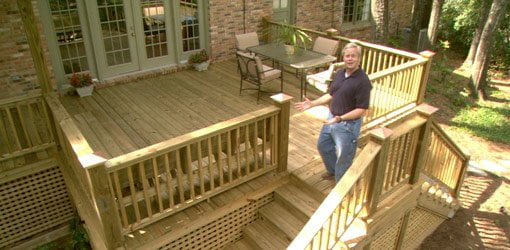 Danny Lipford with completed wood deck project.