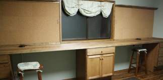 Completed craft workshop room remodeling project.