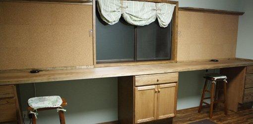 Completed craft workshop room remodeling project.