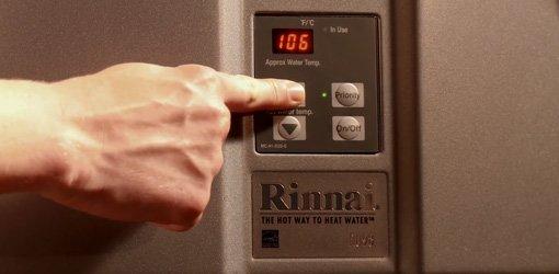 Rinnai tankless water heater.