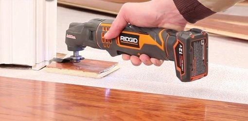 RIDGID JobMax Multi Tool cutting a door jamb.