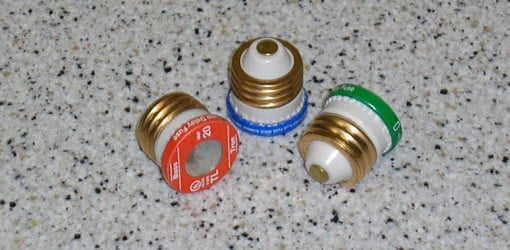 15, 20, and 30 amp plug type fuses.