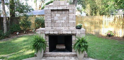 Pavestone paver fireplace.