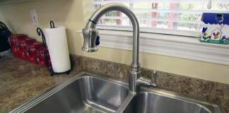 Stainless steel single handle pull-down kitchen faucet from Danze.