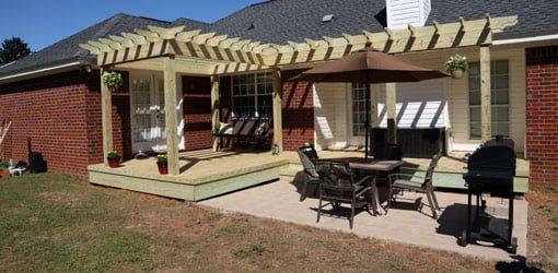 repairing a wood deck and building a pergola shade arbor