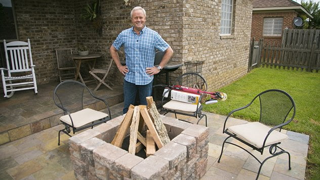 Danny Lipford in front of fire pit.