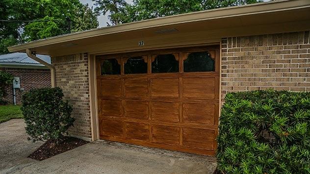 Garage Door with wood-look paint