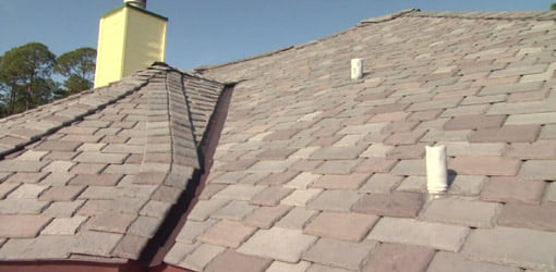 Faux slate roofing from DaVinci Roofscapes.