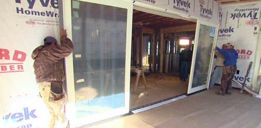 Installation of JELD-WEN sliding glass door on back porch