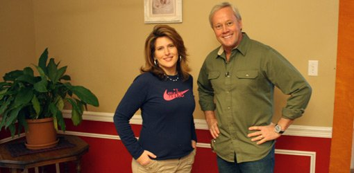 Homeowner Paige Stewart and Danny Lipford with DIY faux wainscoting.