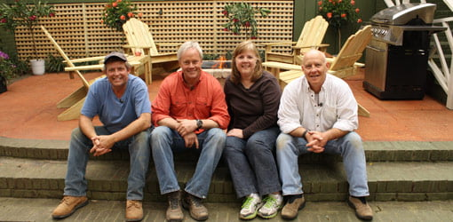Allen Lyle, Danny Lipford, Brenda Martens, and Billy Kavula on completed patio.