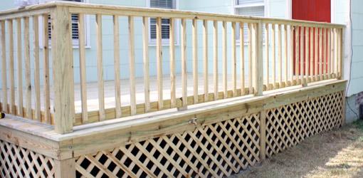 Deck railings and lattice.