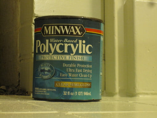 Can of Minwax Polycrylic finish.