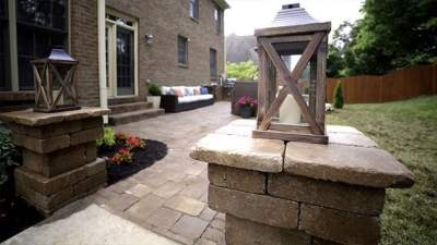 Paver column with paver patio