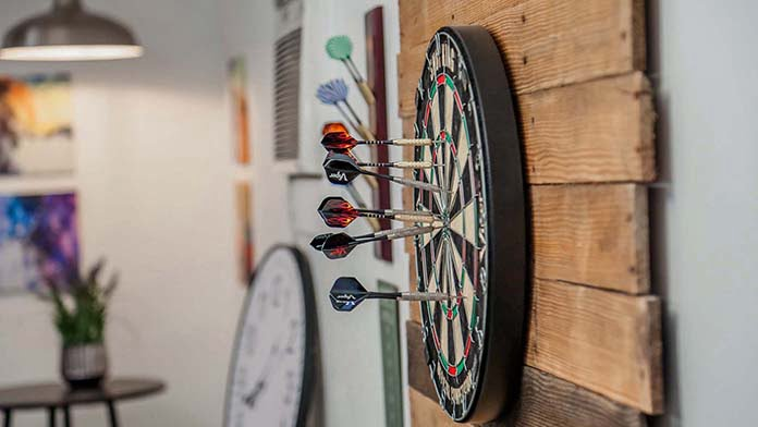 Dartboard in the garage