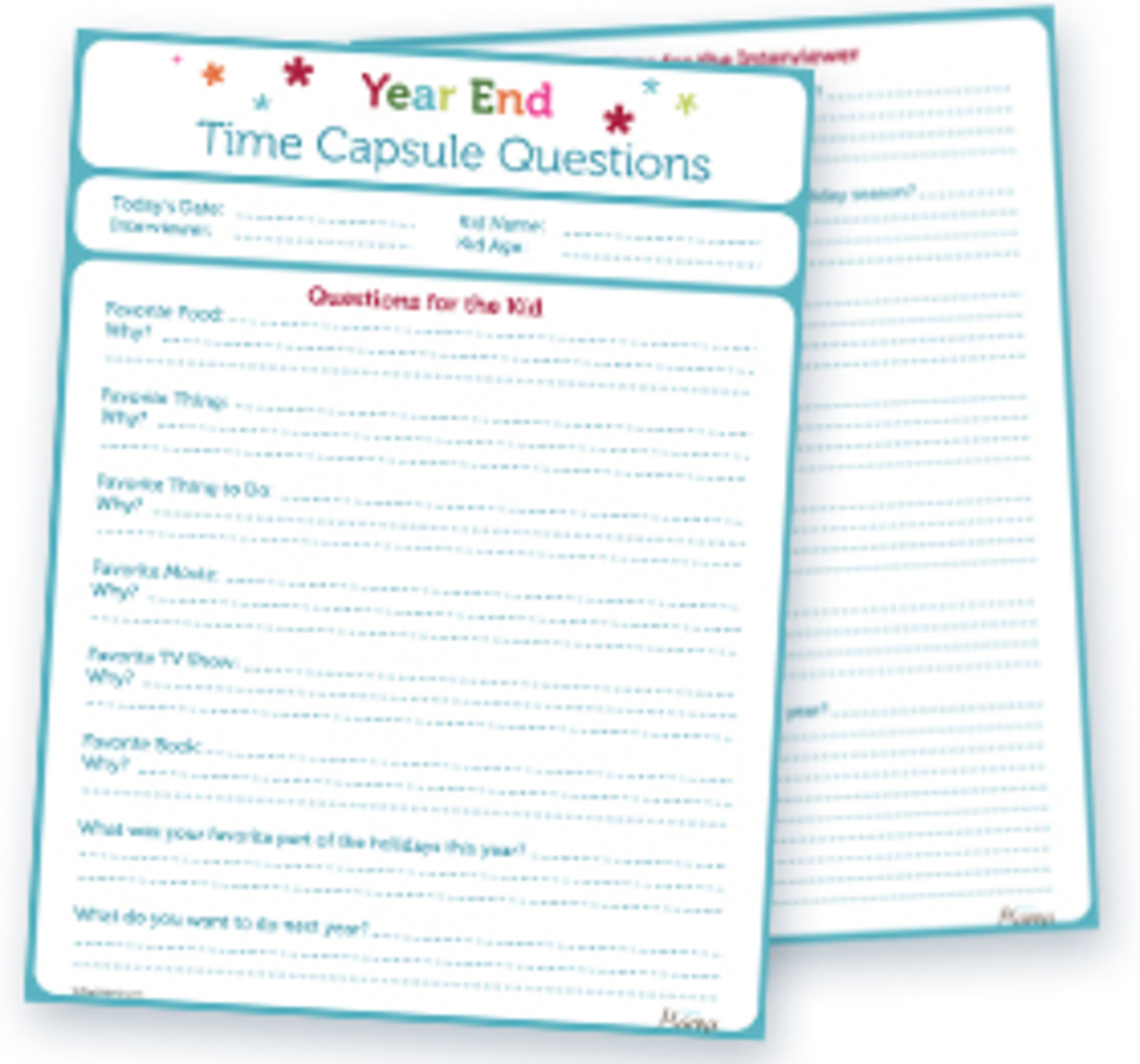 Printable End Of The Year Time Capsule Questions