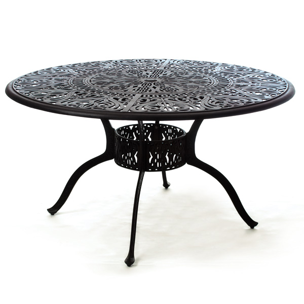 54 round tuscany dining table with inlaid lazy susan