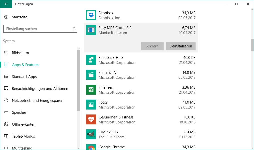 windows 10 programme deinstallieren