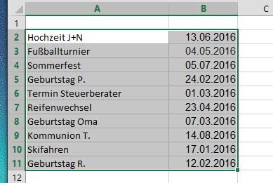 excel tabelle zellen markieren