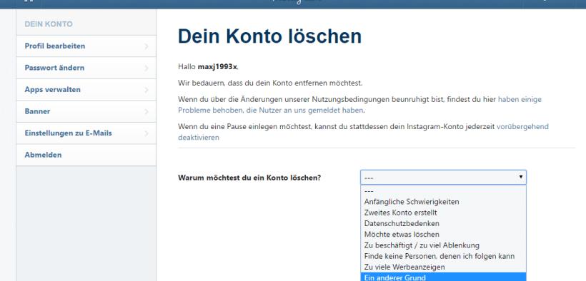 Account Löschen instagram account löschen oder deaktivieren mit unserer hilfe ganz