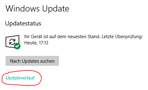 windows 10 updateverlauf anzeigen