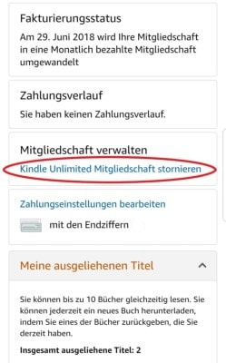 amazon kindle unlimited kündigen