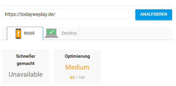 todayweplay pagespeed mobil