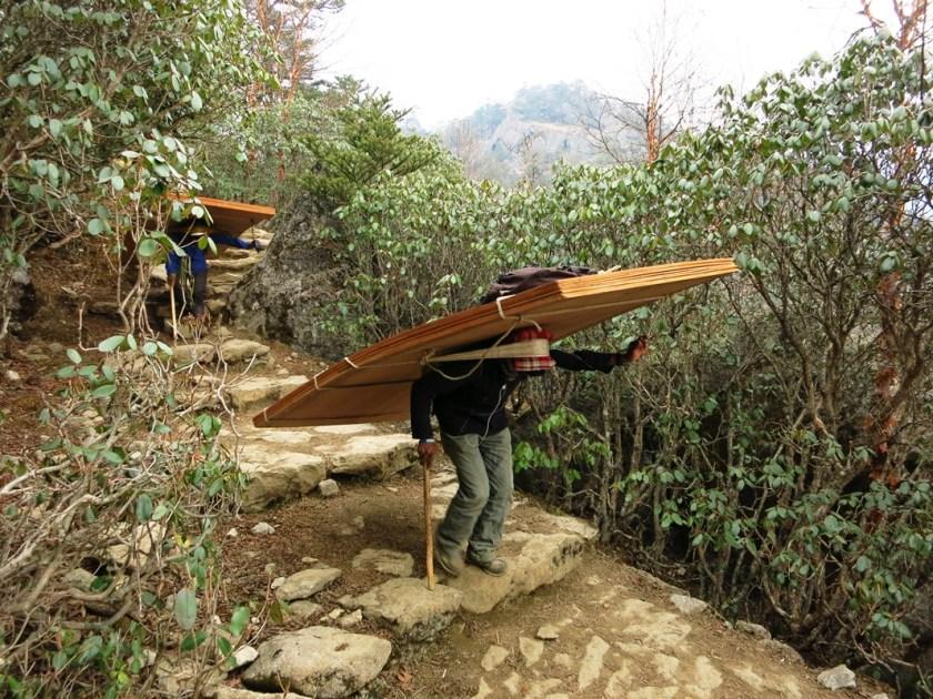 Sherpa trägt große Last