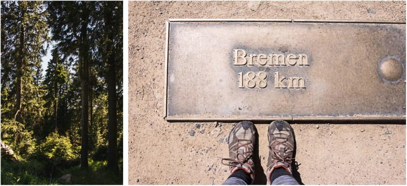 Brocken Gipfel Bremen Schild Entfernung Harz
