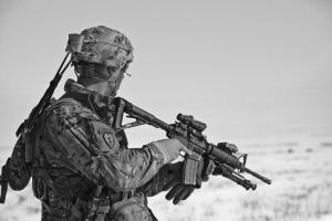 black and white american soldier with gun