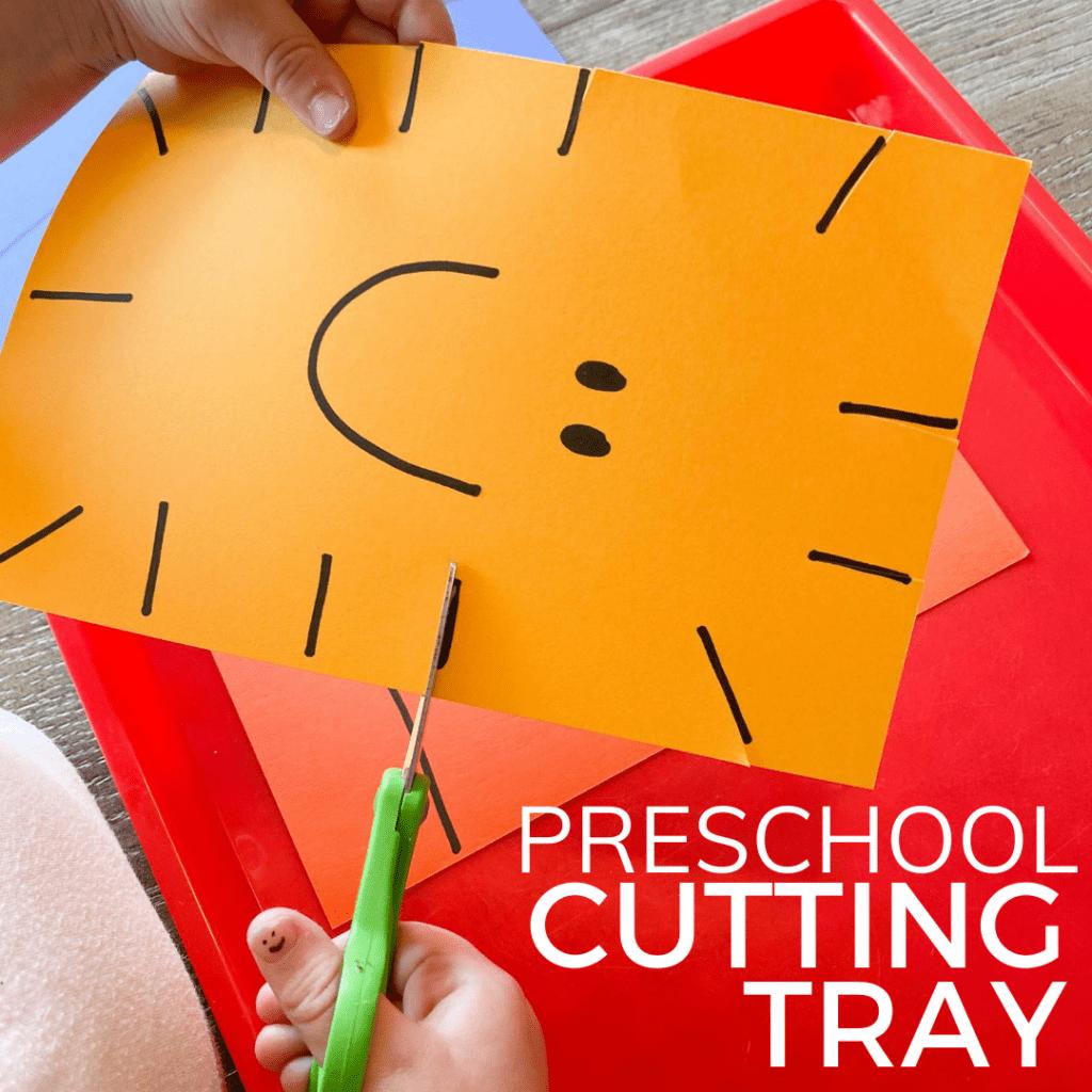 Simple Cutting Tray Preschool Scissor Skills Activity