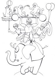 Coloring page 3: circus scene, by Meagan Nishi