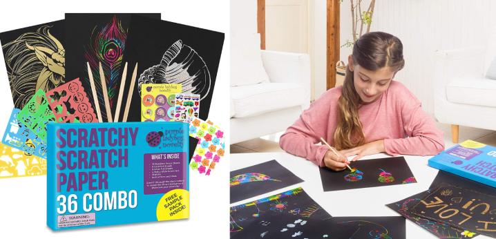 Purple Ladybug Novelty Scratch Paper Combo Art Set for Kids