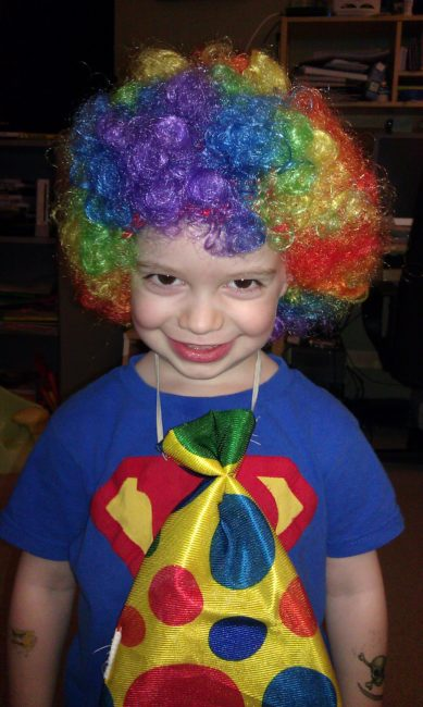Dexter as a clown - Toddling Around Chicagoland
