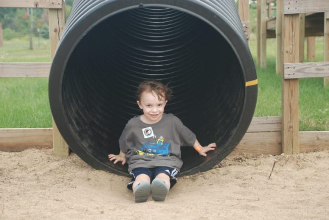 Dexter of slide at All Seasons Apple Orchard