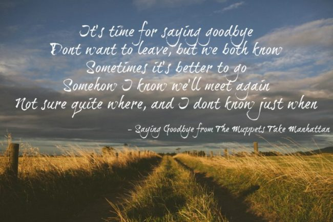 Saying Goodbye quote white