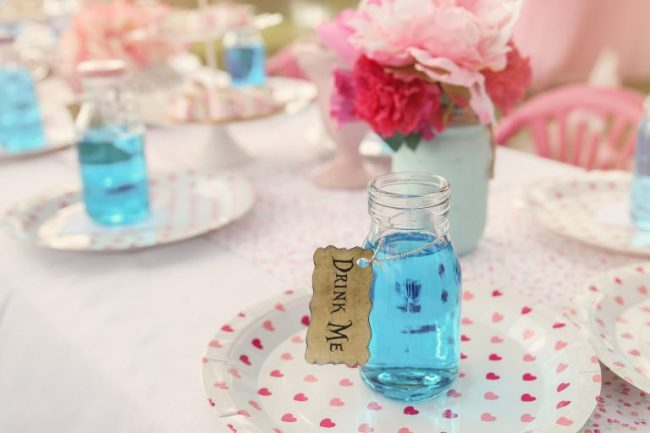 Blue drinks in bottles, Alice in wonderland tea party theme