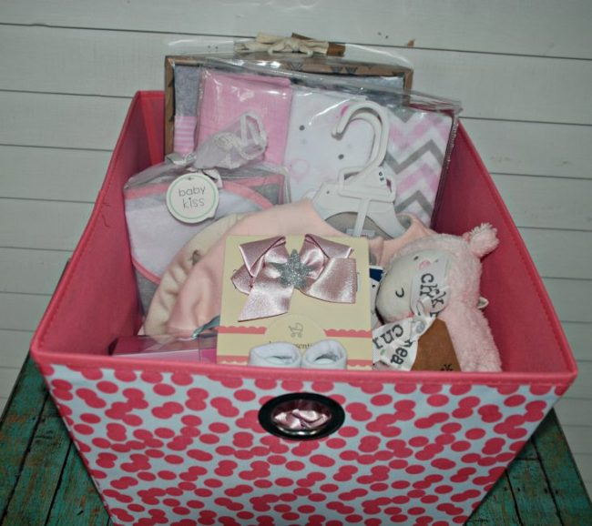 Storage bin and pink baby gifts from Marshall's