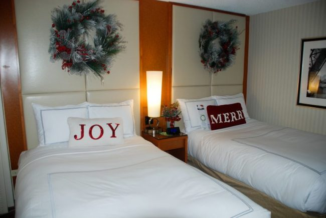 Beds at the elf-decorated rooms at the Swissotel Chicago