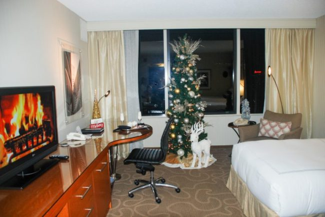 Swissotel Chicago guest room - elf-decorated