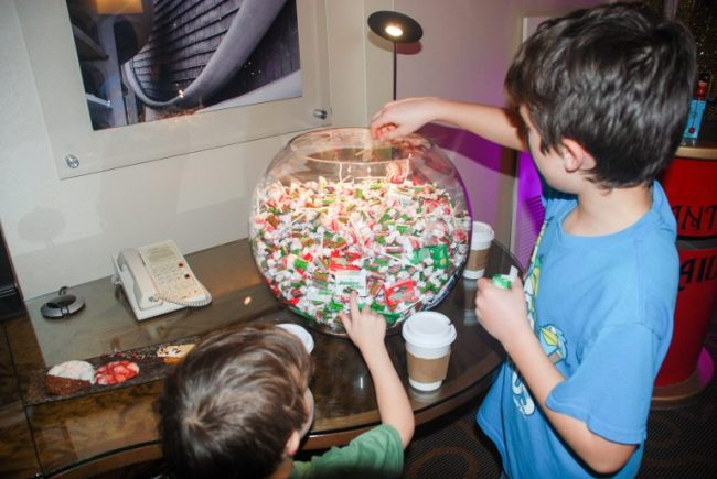 Giant bowl of candy at the Santa Suite at the Swissotel Chicago
