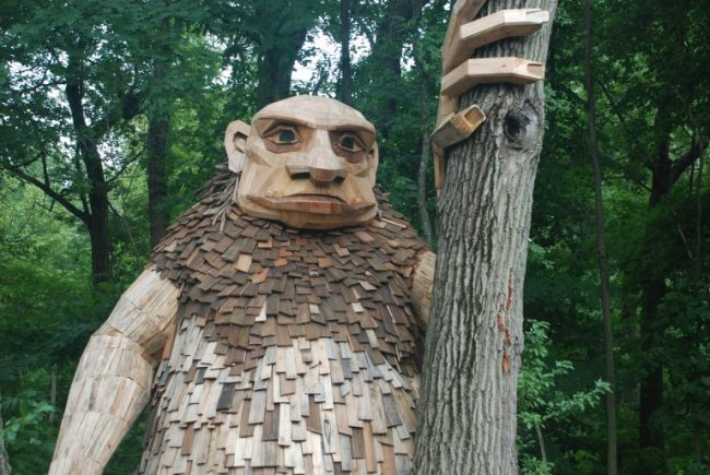 Giant troll by tree at Morton Arboretum